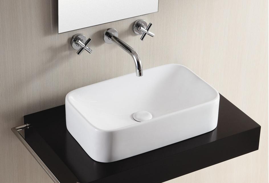 lux aqua keramik waschtisch waschbecken aufsatzbecken 49x29cm 4120. Black Bedroom Furniture Sets. Home Design Ideas