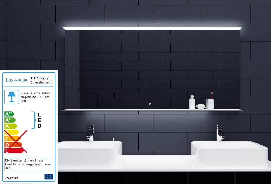lichtspiegel mit led beleuchtung touch schalter glasablage 140x75cm alm140x75 ebay. Black Bedroom Furniture Sets. Home Design Ideas