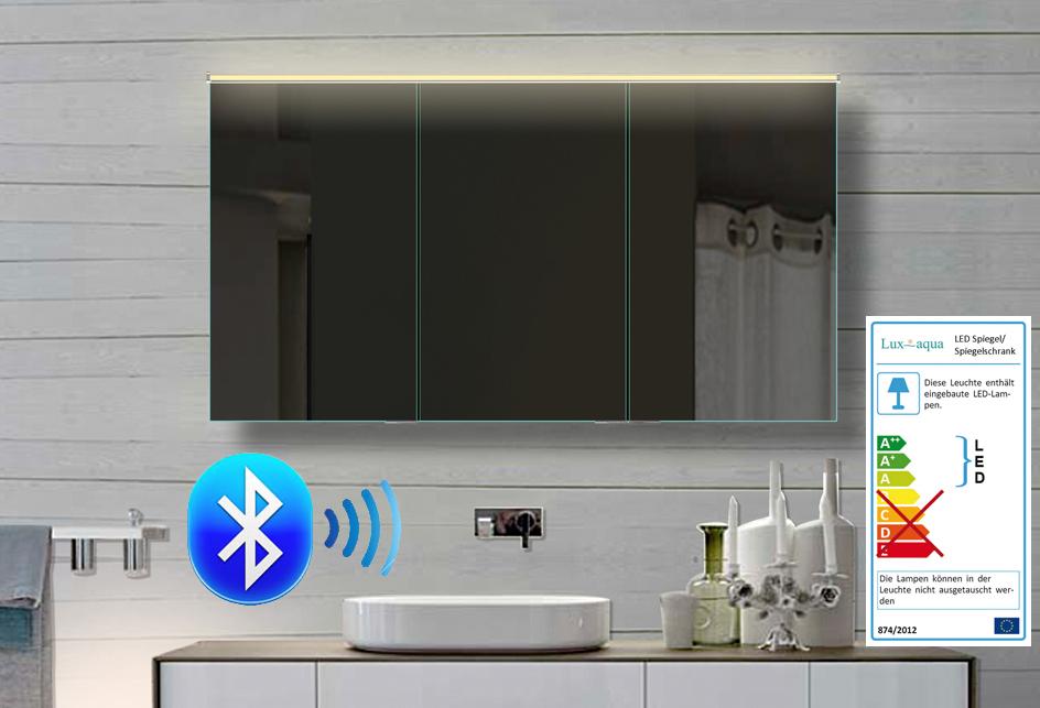 alu badezimmer spiegelschrank led und bluetooth lautsprecher 122x70cm bhc122h70 ebay. Black Bedroom Furniture Sets. Home Design Ideas
