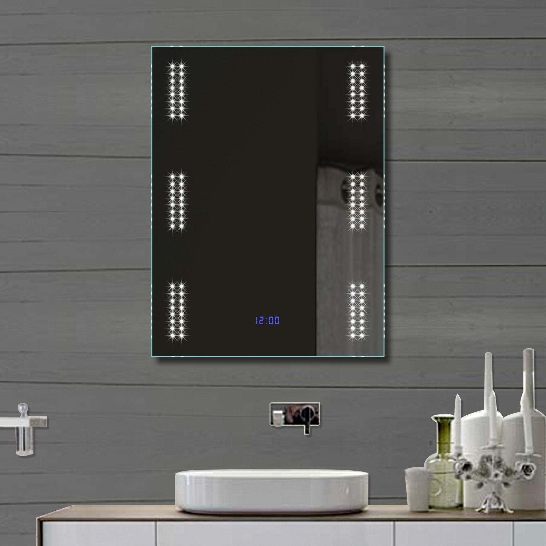 design badezimmer spiegel wandspiegel mit led beleuchtung und uhr 80x60cm fl0903 ebay. Black Bedroom Furniture Sets. Home Design Ideas