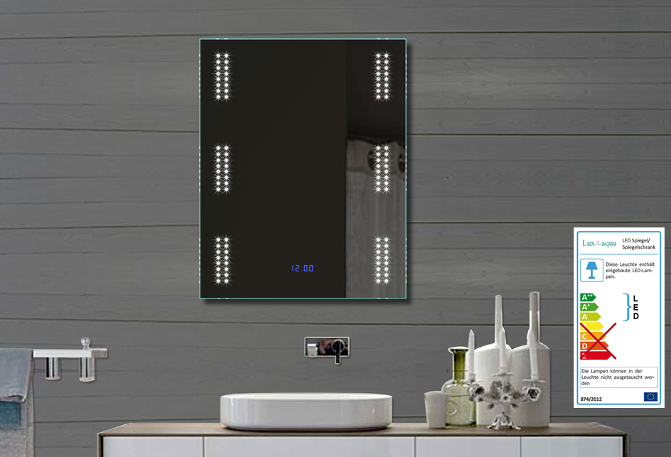 design badezimmer spiegel wandspiegel mit led beleuchtung und uhr 80x60cm fl0903. Black Bedroom Furniture Sets. Home Design Ideas