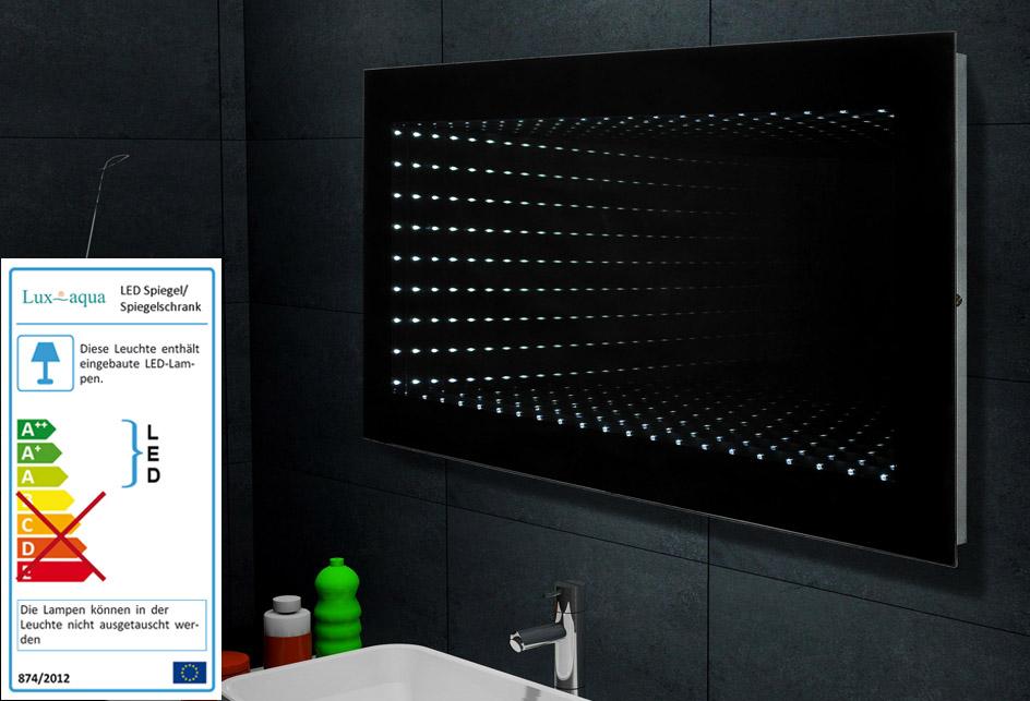 Lux aqua spiegel badezimmerspiegel mit led beleuchtung 3d for Spiegel 3d effekt