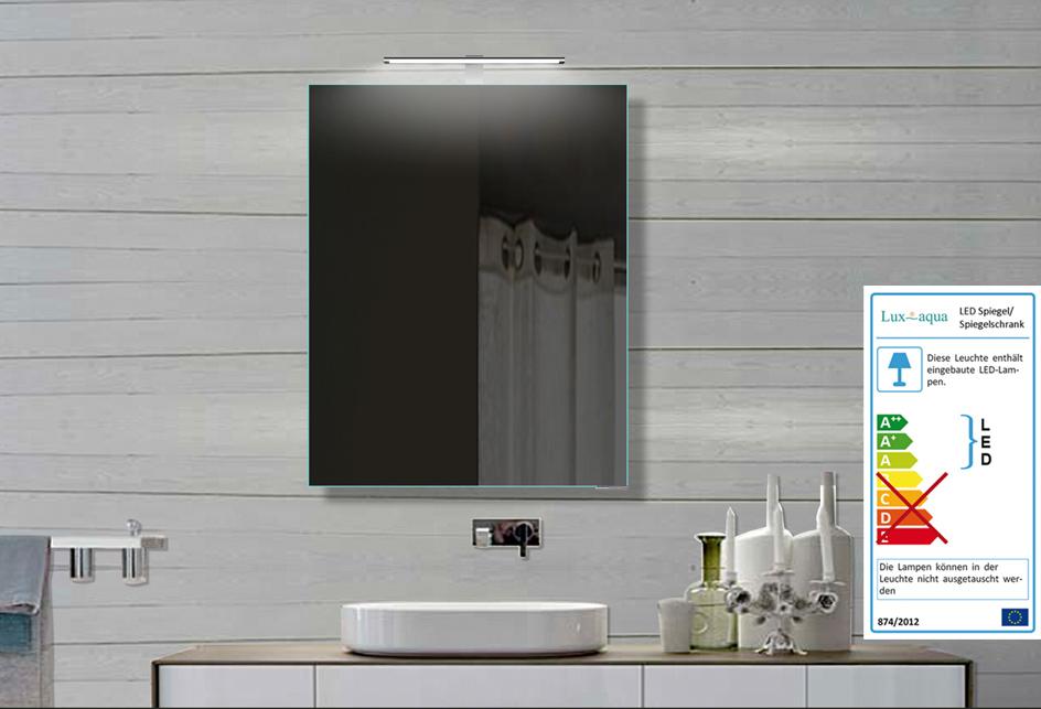 lux aqua alu spiegelschrank badspiegel mit led beleuchtung 50x70cm fl16011b ebay. Black Bedroom Furniture Sets. Home Design Ideas