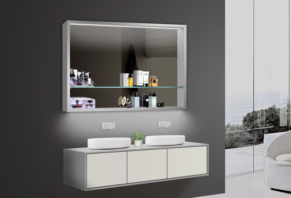 design badezimmer spiegel spiegelschr nke spiegelregal led beleuchtung lkj100x75. Black Bedroom Furniture Sets. Home Design Ideas