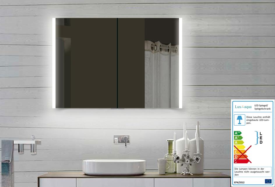 luxaqua aluminium badezimmer spiegelschrank mit led in warm kaltwei llc100x70dp. Black Bedroom Furniture Sets. Home Design Ideas