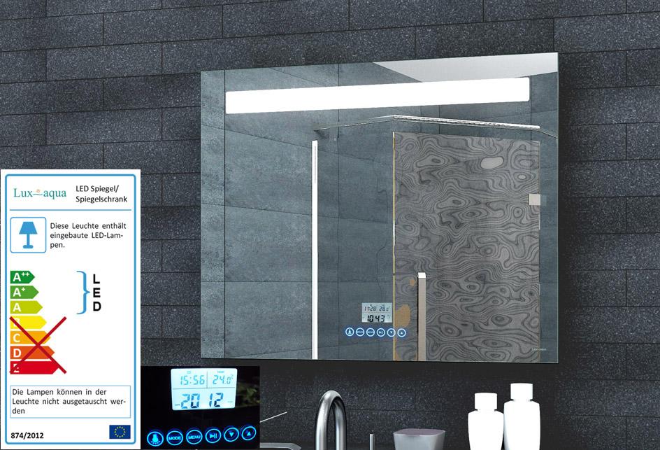 badspiegel led beleuchtung uhr radio mp3 und touch schalter 80x60cm lmp08060 ebay. Black Bedroom Furniture Sets. Home Design Ideas