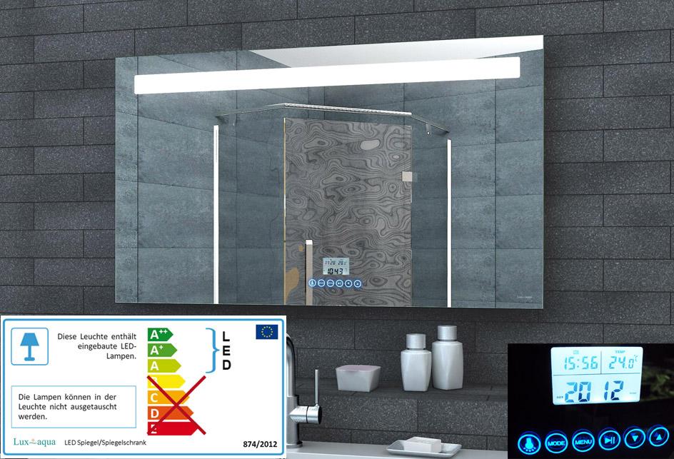 badspiegel led beleuchtung uhr radio mp3 und touch schalter hamburg. Black Bedroom Furniture Sets. Home Design Ideas