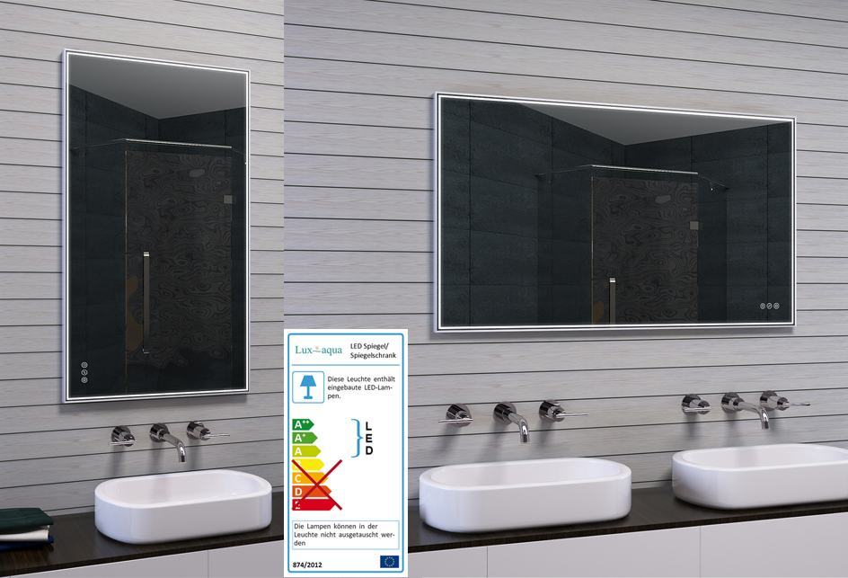 Lux aqua design badspiegel mit rahmen - Lux aqua spiegel ...