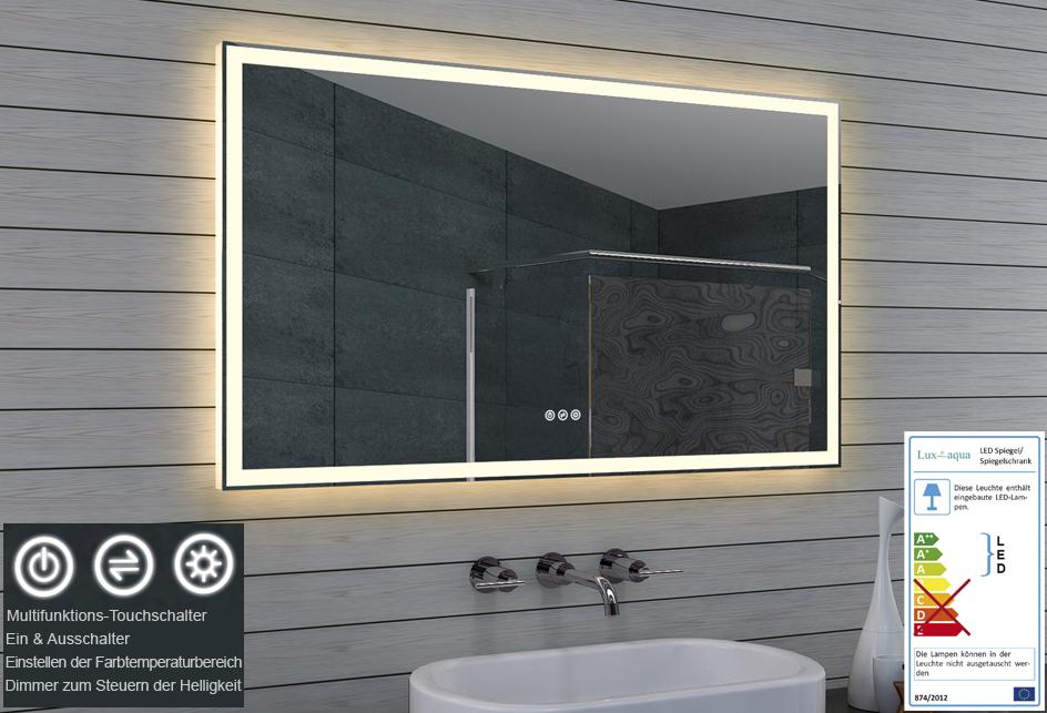 Lux aqua badezimmerspiegel led for Spiegel einstellen