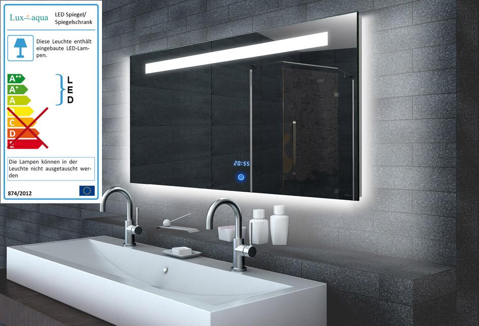 Badspiegel wandspiegel mit led beleuchtung uhr touch for Wandspiegel rahmenlos