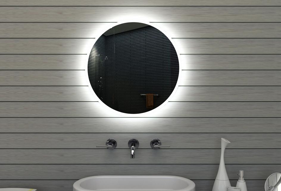 wand bad licht badezimmer spiegel mit lichtleitendem acryl rahmen 60cm rund ebay. Black Bedroom Furniture Sets. Home Design Ideas