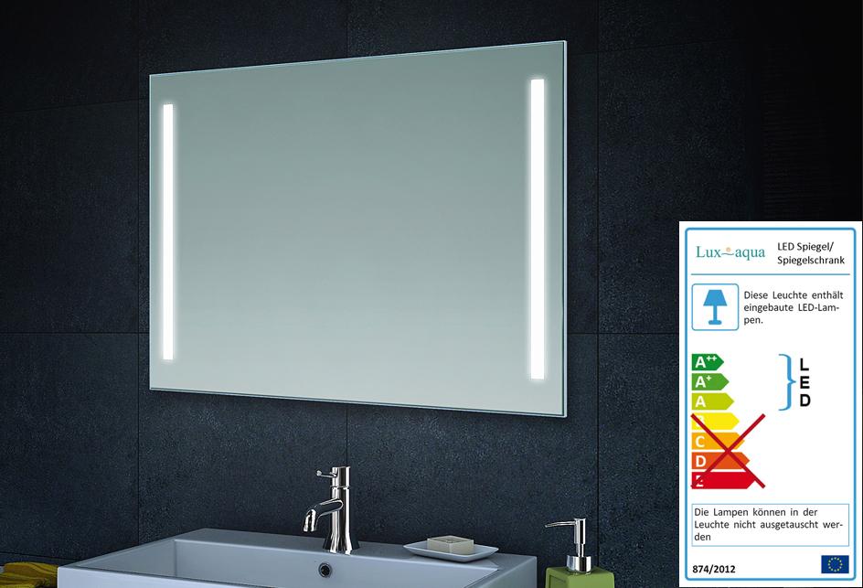 lux aqua design badezimmerspiegel mit led beleuchtung in warm kaltwei mt60 80dp. Black Bedroom Furniture Sets. Home Design Ideas
