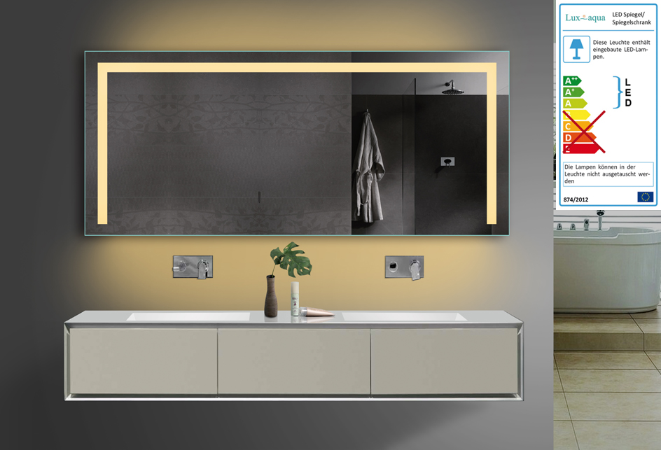 design badezimmerspiegel mit led beleuchtung in warm kaltwei und steckdose ebay. Black Bedroom Furniture Sets. Home Design Ideas