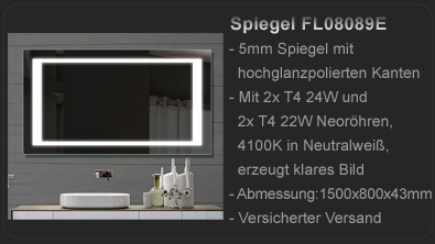 lux aqua design badezimmerspiegel alu rahmen led beleuchtung 160x60cm mld60160 ebay. Black Bedroom Furniture Sets. Home Design Ideas