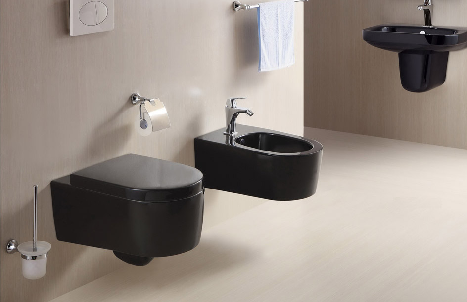 wand h ngende wc toilette schwarz mit soft close aus. Black Bedroom Furniture Sets. Home Design Ideas