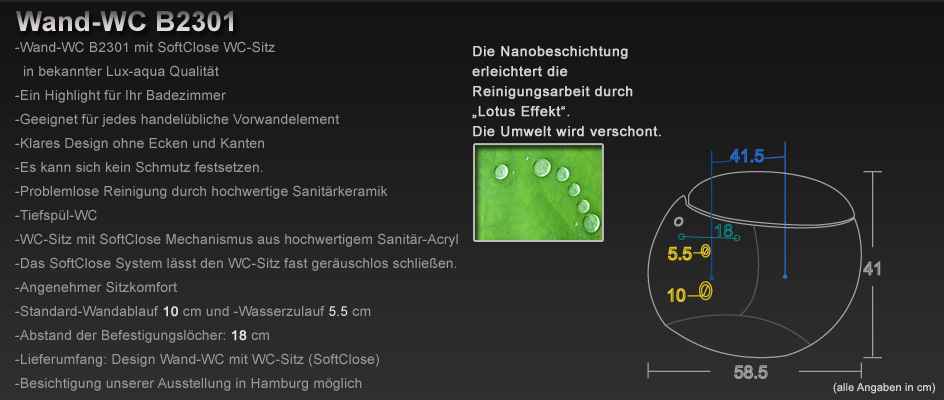lux aqua luxus wand h nge wc toilette oval inkl nano beschichtung b2301 ebay. Black Bedroom Furniture Sets. Home Design Ideas