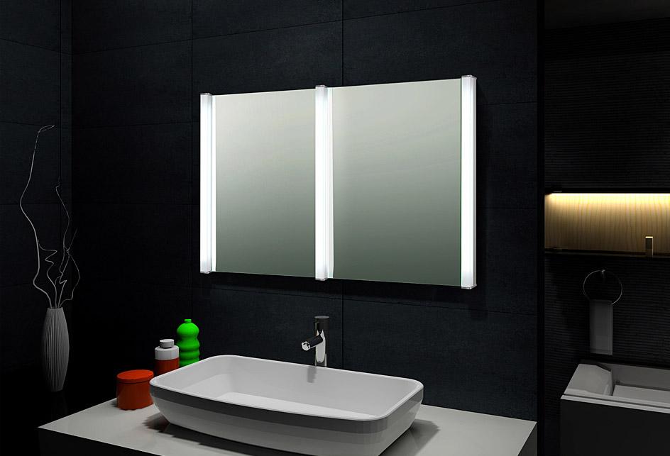 Design doppel lichtspiegel badezimmerspieg el wandspiegel for Wandspiegel rahmenlos