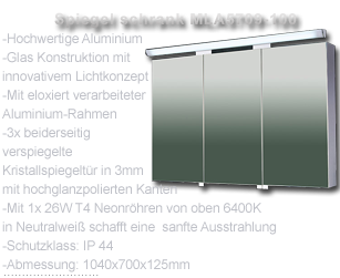 design alu spiegelschrank badspiegel mit beleuchtung 68x140cm xxl mla5706 140 ebay. Black Bedroom Furniture Sets. Home Design Ideas