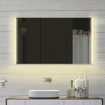 Lux-aqua Aluminium badezimmer Spiegelschrank mit Led in Warm/Kaltweiß  LLC120X70DP