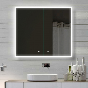 Alu Badschrank Badezimmer Spiegelschrank Bad LED Beleuchtung 80x70cm  SAC80H70