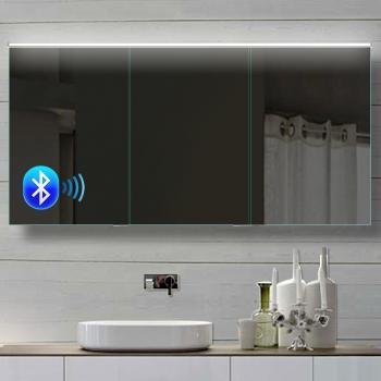alu badezimmer spiegelschrank led und bluetooth lautsprecher 142x70cm bhc142h70. Black Bedroom Furniture Sets. Home Design Ideas