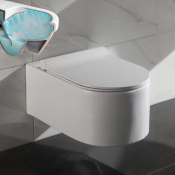 Neu www.lux-aqua.de - Spülrandloses Wand Hänge WC Spülrandlos Toilette  YL87