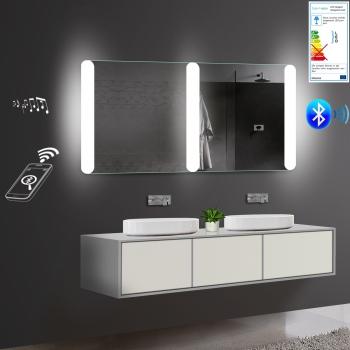 lux aqua badezimmerspiegel led beleuchtung warm kaltwei mit bluetooth. Black Bedroom Furniture Sets. Home Design Ideas