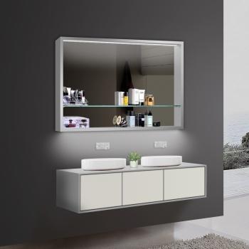 Design badezimmer Spiegel Spiegelschränke Spiegelregal LED Beleuchtung  LKJ100X75