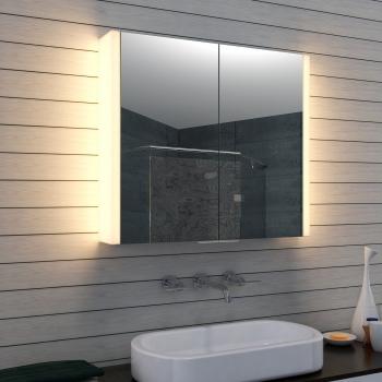 Weiß Aluminium LED Beleuchtung Badezimmer Spiegelschrank MLA0870-AB
