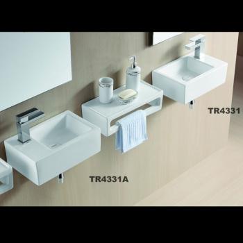Design Gäste-WC kleines Waschbecken zur Wandmontage 37x24cm L/R 4331