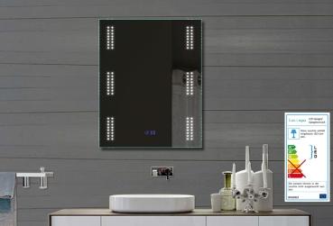 badezimmerspiegel wandspiegel mit led beleuchtung und uhr fl0903. Black Bedroom Furniture Sets. Home Design Ideas