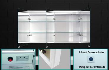 alu badschrank badezimmer spiegelschrank bad led beleuchtung 140x70cm sac140h70. Black Bedroom Furniture Sets. Home Design Ideas