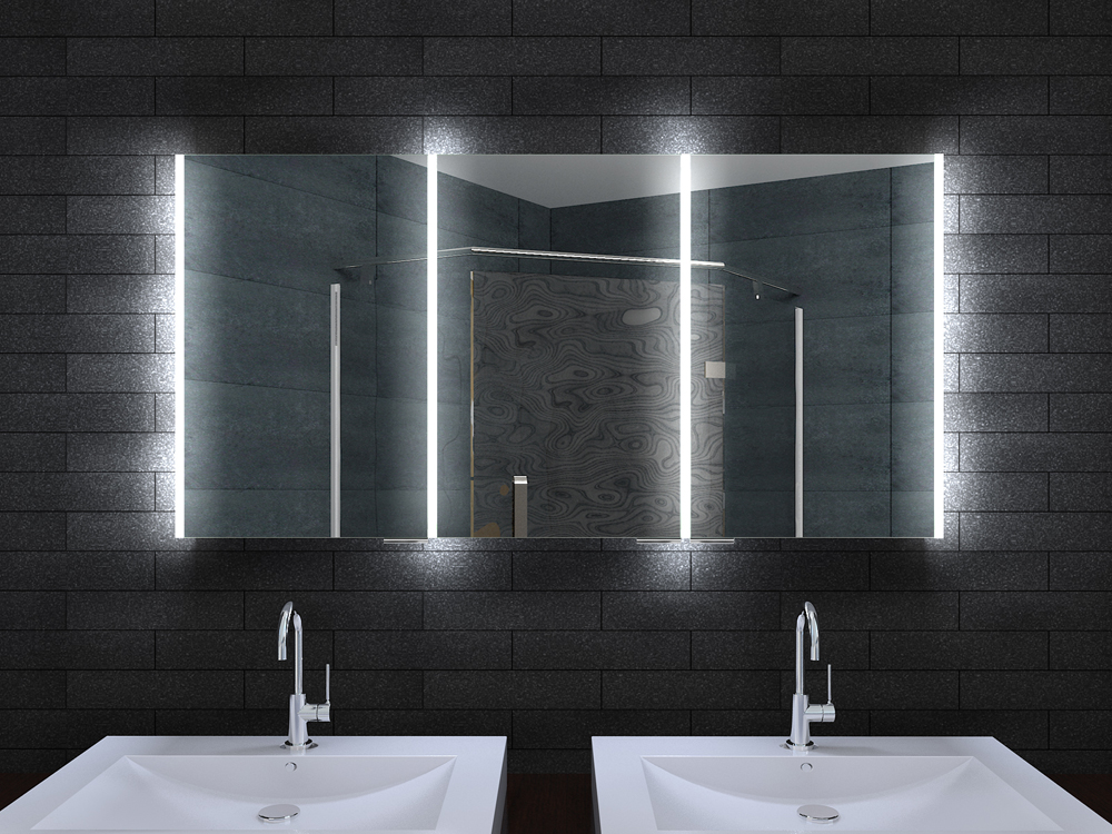 www.lux-aqua.de - Alu Badschrank badezimmer spiegelschrank bad LED ...