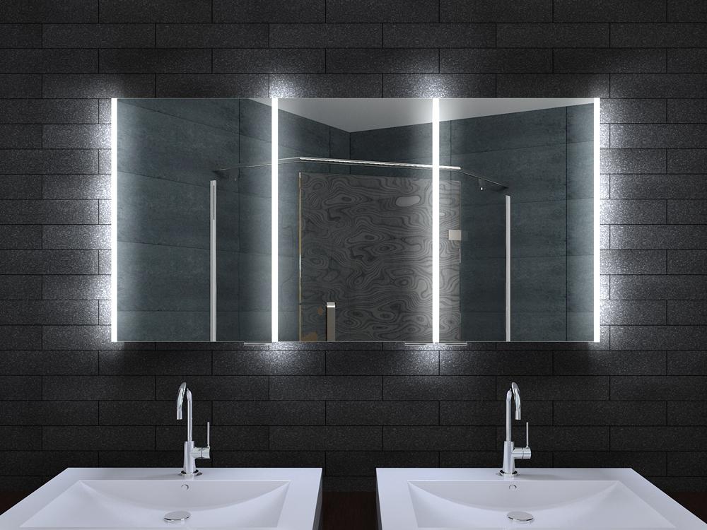Alu badschrank badezimmer spiegelschrank bad led beleuchtung 140x70cm mla14700 - Spiegelschrank bad mit beleuchtung ...