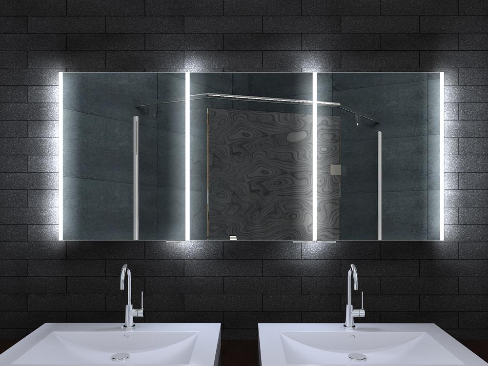 alu badschrank badezimmer spiegelschrank bad led beleuchtung 160x70cm mla16700. Black Bedroom Furniture Sets. Home Design Ideas