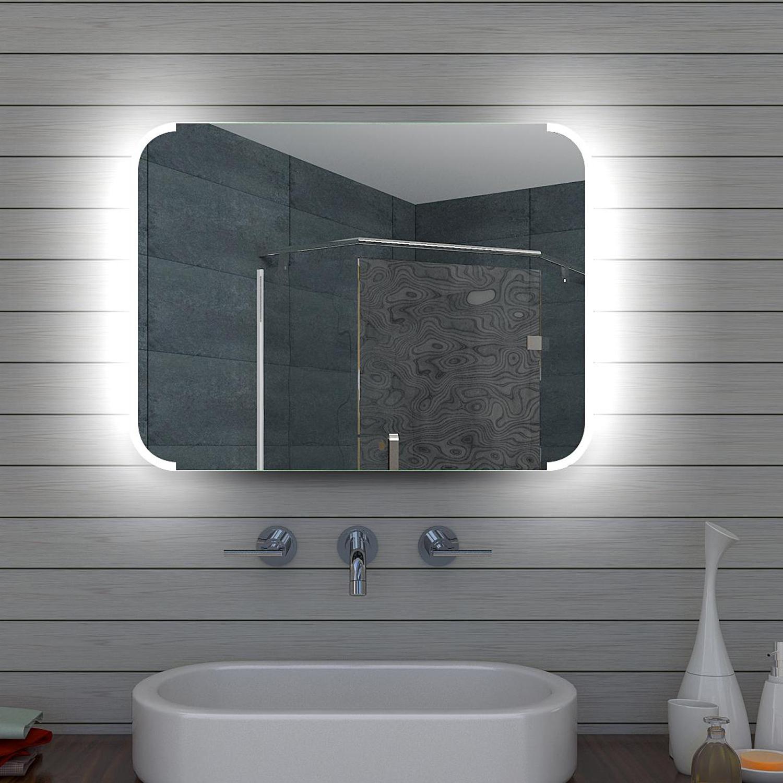 design led badezimmerspiegel badspiegel lichtspiegel wandspiegel 80x60 cm ml80. Black Bedroom Furniture Sets. Home Design Ideas