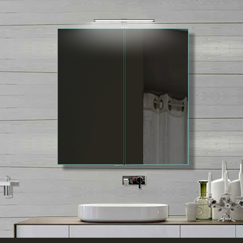 lux aqua alu badezimmer spiegelschrank mit beleuchtung led 61x70cm 16014b. Black Bedroom Furniture Sets. Home Design Ideas