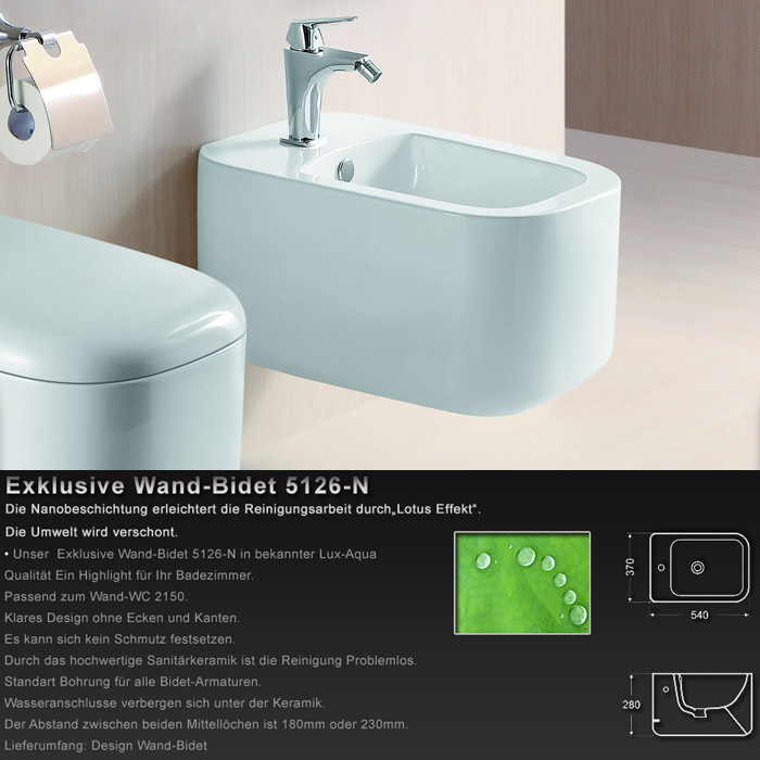 wandh ngend bidet mit nano beschichtung 5126 n. Black Bedroom Furniture Sets. Home Design Ideas