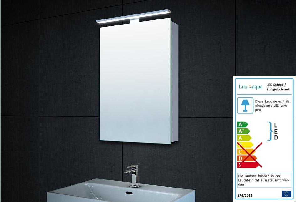 Spiegelschrank mit beleuchtung und ablage  www.lux-aqua.de - Alu LED Beleuchtung Spiegelschrank Gäste-WC ...