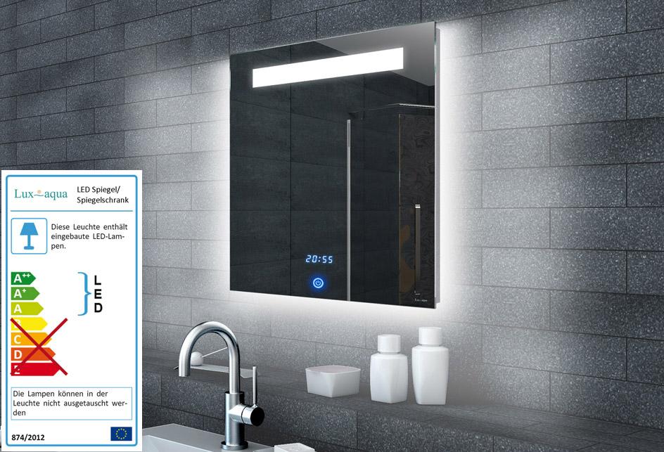www.lux-aqua.de - LED Lichtspiegel Badspiegel mit Uhr ...