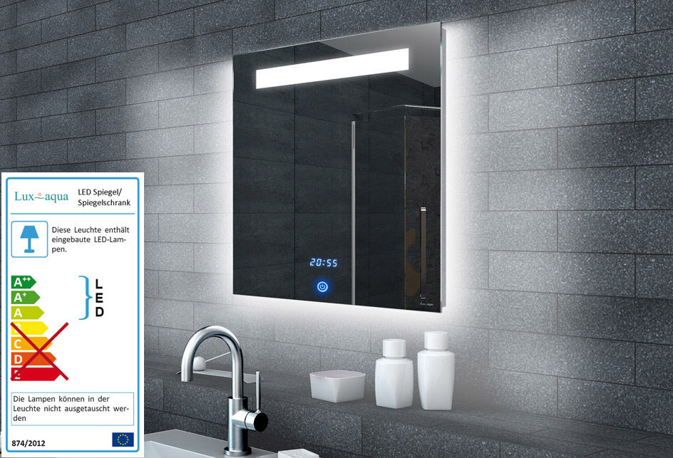 Www Lux Aqua De Lichtspiegel Led Uhr Und Touch Schalter 60x65 Ml6506