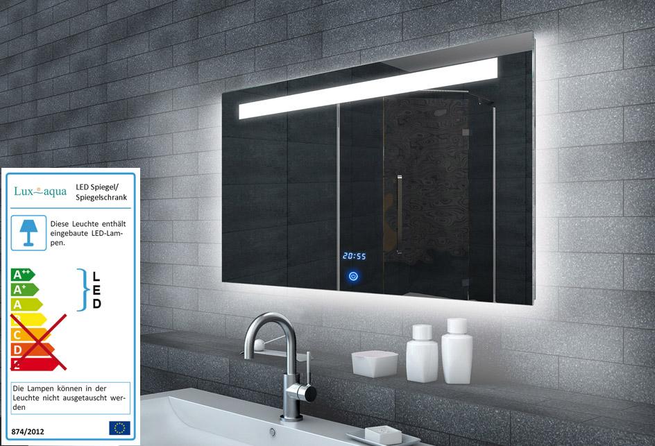 Spiegel mit beleuchtung und uhr  www.lux-aqua.de - Lichtspiegel LED Beleuchtung Uhr+TOUCH SCHALTER ...