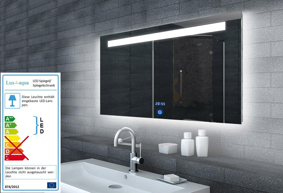 www.lux-aqua.de - Lichtspiegel LED Beleuchtung Uhr+TOUCH SCHALTER ...