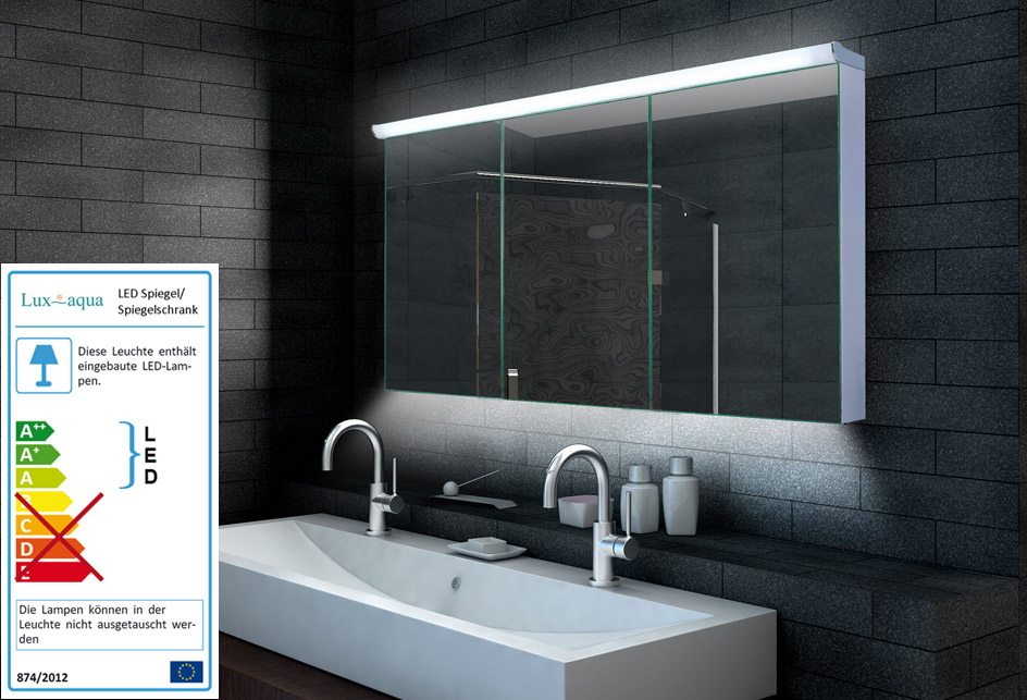 Www Lux Aqua De Design Alu Spiegelschrank Led Beleuchtung