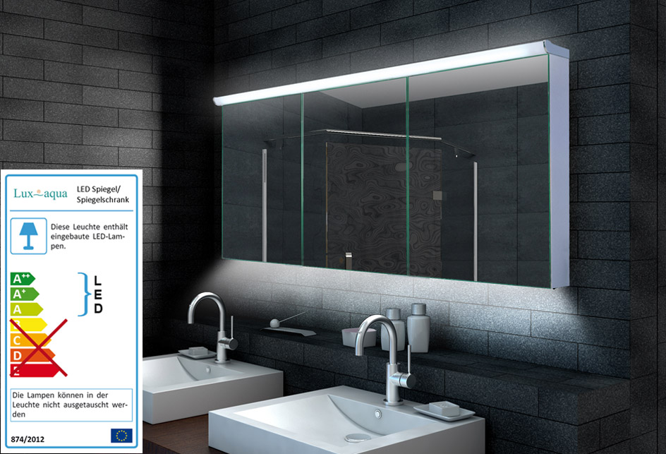 www.lux-aqua.de - Design Alu Spiegelschrank LED Beleuchtung ...