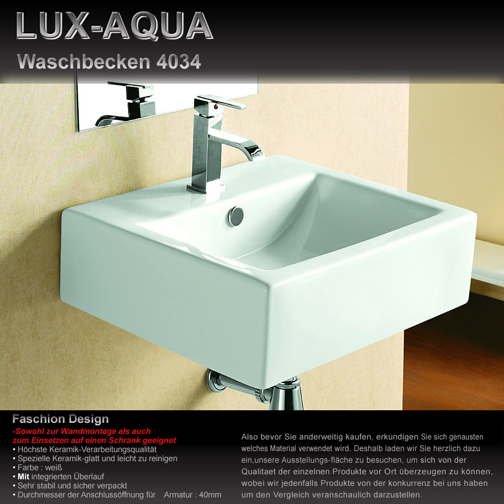 lux aqua g ste wc waschbecken zur wandmontage 4034. Black Bedroom Furniture Sets. Home Design Ideas
