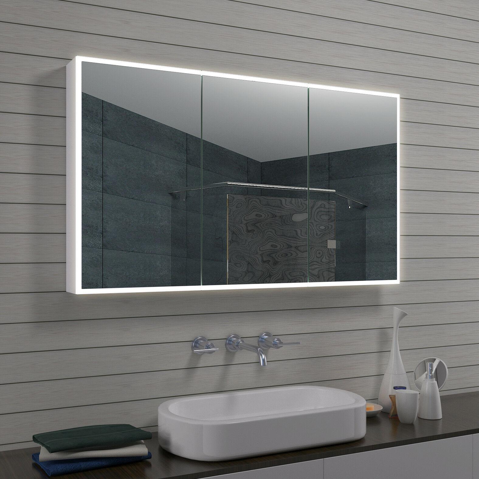 www.lux aqua.de   Aluminium LED Beleuchtung Badezimmer Spiegelschrank mit Schminkspiegel MLA1270 R