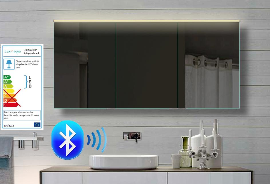 Www.lux Aqua.de   Alu Badezimmer Spiegelschrank LED Und Bluetooth  Lautsprecher 142x70cm BHC142H70