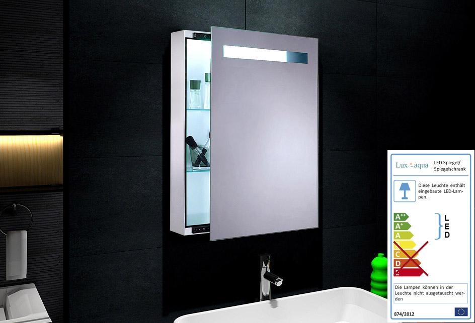 design spiegelschrank mit led beleuchtung 45x70cm metallgeh use in wei 0811aw. Black Bedroom Furniture Sets. Home Design Ideas