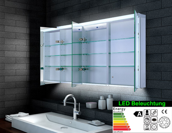 www.lux-aqua.de - Design Alu Spiegelschrank LED Beleuchtung ... | {Design spiegelschrank 60}